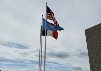 Flags flying at Omaha Beach
